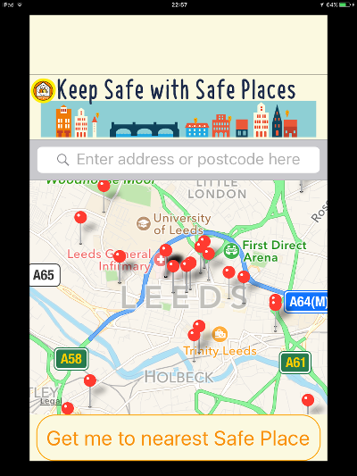 Safe Places app on iPad